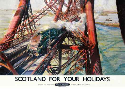 Poster produced for British Railways in 1952 showing the Pacific Plover locomotive crossing the Forth Rail Bridge. Artwork by Terence T. Cuneo (1907-1996)