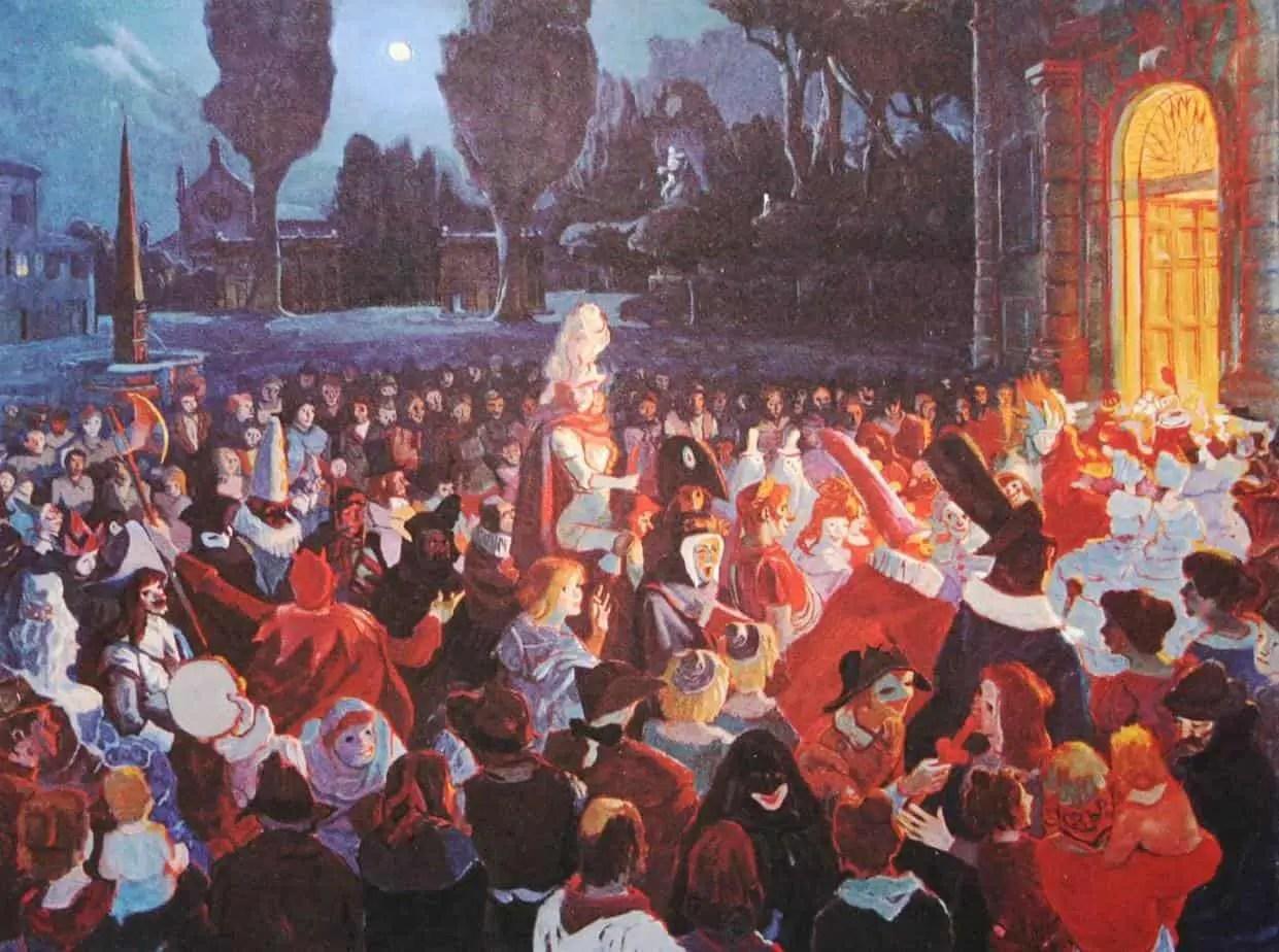 The Rossini Opera House (r.) Pesaro - Illustration by Achille Vildi, 1969
