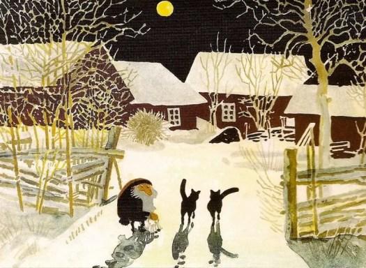 Tomten Postcard by Harald Wiberg