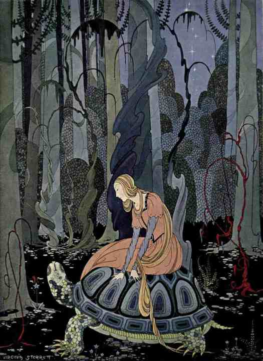 Virginia Frances Sterrett (1900 - 1931) 1920 illustration for Old French Fairy Tales by Comtesse de Ségur Blondine and the Tortoise
