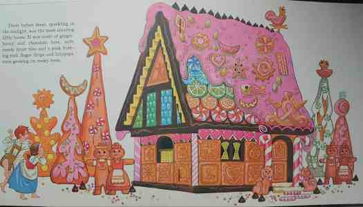 A colourful contemporary illustration from 'Hansel and Gretel', illustrated by Sheilah Beckett in 1974
