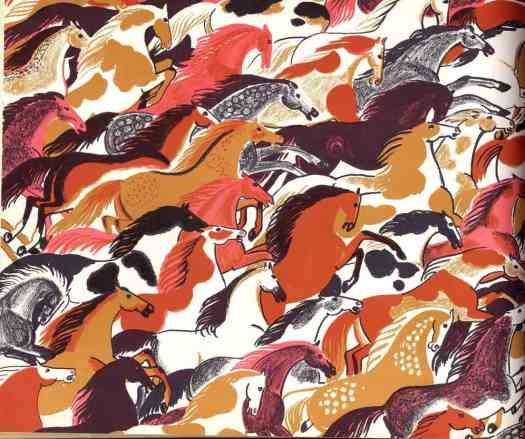 """""""World Full of Horses,""""  written & illustrated by Ipcar, New York: Doubleday & Co., 1955"""