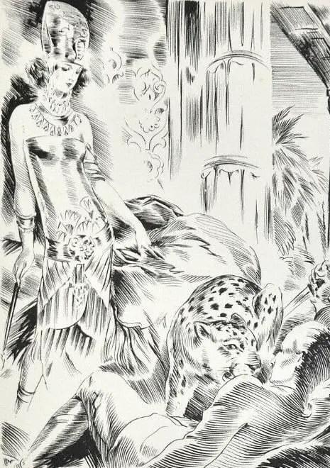 Illustration by André Hofer for a 1927 edition of Pierre Benoît's L'Atlantide tiger