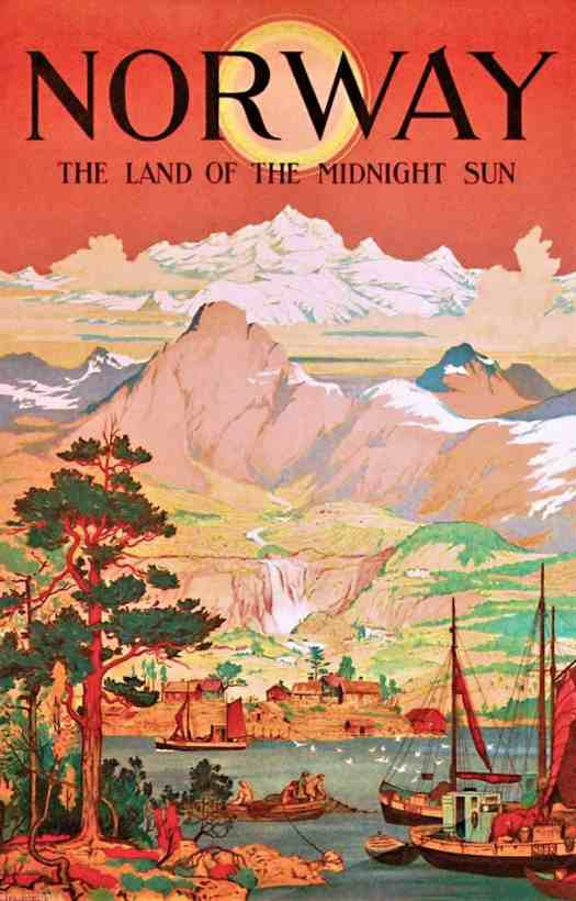 Ivar Gull circa 1930 The Land Of The Midnight Sun travel poster illustration promoting Norway