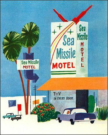 Sea Missile Motel from 'This Is Cape Canaveral' by Miroslav Sasek 1963