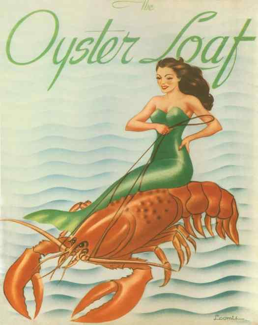 The Oyster Loaf menu cover, 1940s, Andrew Loomis (1892-1959) riding