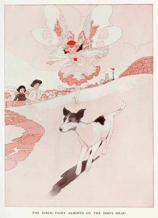 The Story of the Weathercock by Evelyn Sharpe 1907 illustrated by Charles Robinson The birch fairy alights on the dog's head