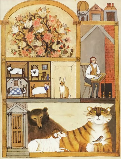 Alice and Martin Provensen, The tiger asks Blake for a bedtime story,  cutaway, tiger
