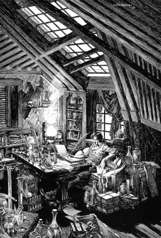 Bernie Wrightson (1948 - 2017) 1976 illustration for Frankenstein by Mary Shelley