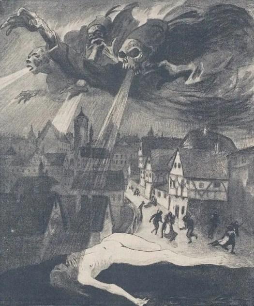 "Carl Olof Petersen (1880-1939), Illustration pour ""Jugend Magazine"", 1920. Swedish illustrator, painter and woodcut artist wind"