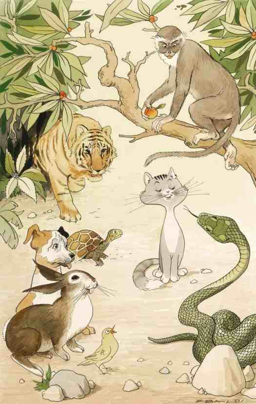 F. Baldi - Original illustration for Rudyard Kipling's Just So Stories, published by Capitol publishing house in 1958 jungle