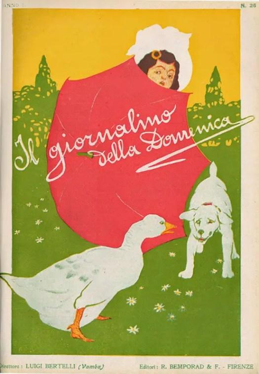 Il giornalino della Domenica cover by Della Valle, 1906 umbrella goose dog