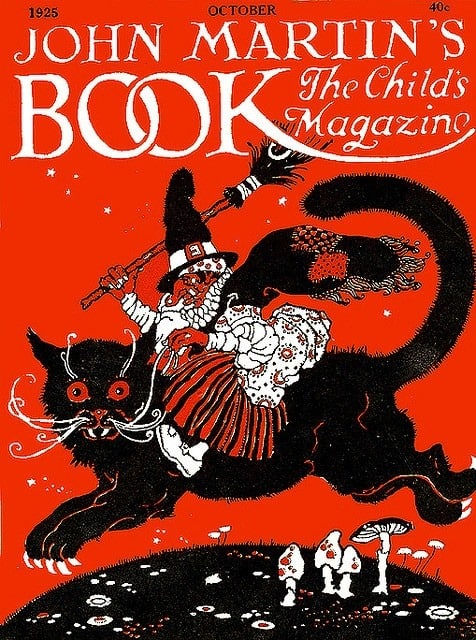 John Martin's Book The Child's Magazine, art perhaps by George L Carlson (USA, 1887-1962) witch riding cat