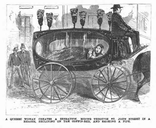 The illustrated police news 1872 A Quebec woman creates a sensation riding through St-John Street in a Hearse, reclining on the coffin-bed, and smoking a pipe