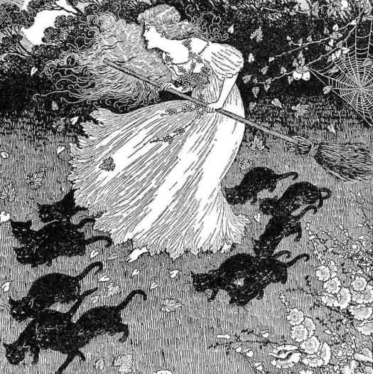 A witch and Black Cats - Ida Rentoul Outhwaite