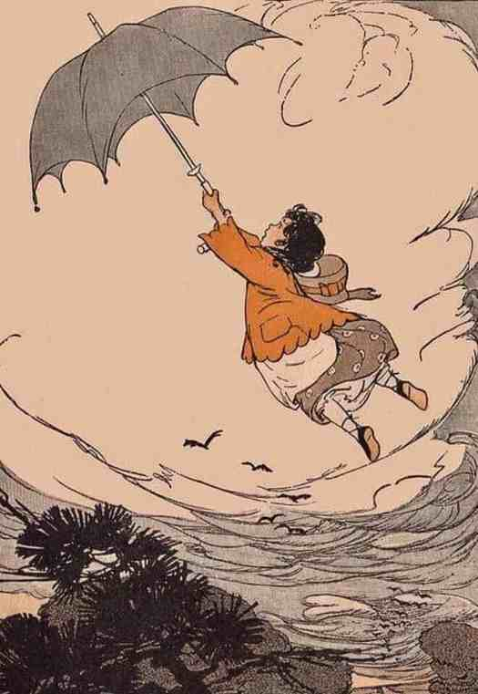 And The Wind Picked up Lilly Etta, Story Hour Readers by Ida Coe and Alice Christie,1914, illustrated by Maginel Wright Enright umbrella