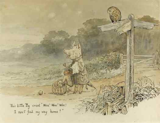 Beatrix Potter illustration for Wee Wee Wee I Can't Find My Way Home