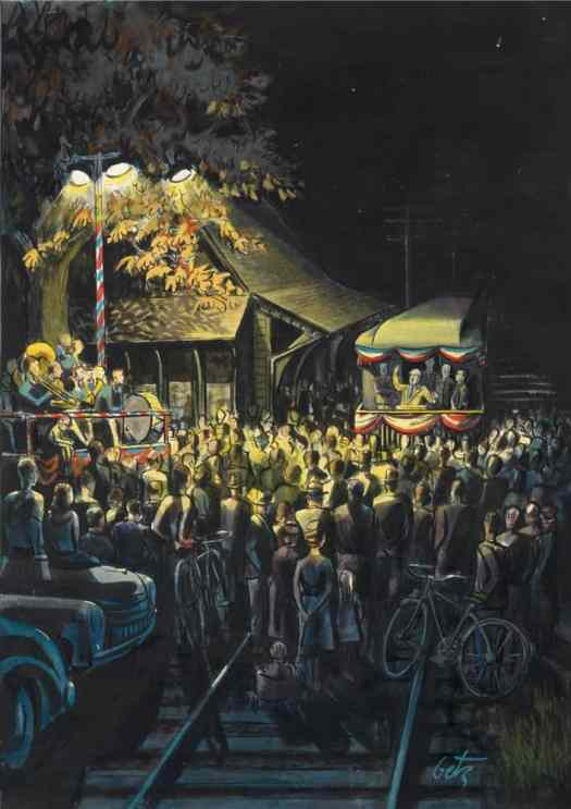 Campaign Train by Arthur Getz (1913-1996) for New Yorker cover 1948 but not used