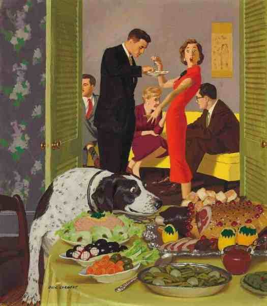 Doggie Buffet cover of The Saturday Evening Post magazine, January 5, 1957 By Dick Sargent, American illustrator