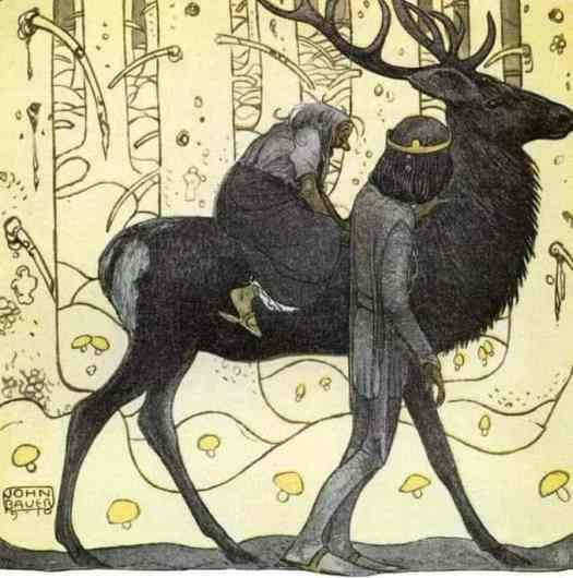 John Bauer, (1882-1918), was a Swedish artist and illustrator, mainly of Scandinavian fairytales. The Prince Without A Shadow 1910