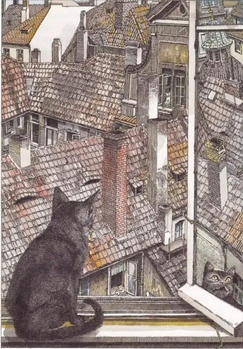 Klaus Ensikat (german, b. 1937, Berlin, Germany) - Illustration from book Cats by Axel Eggebrecht (german, b. 1899, Dresden, Germany)