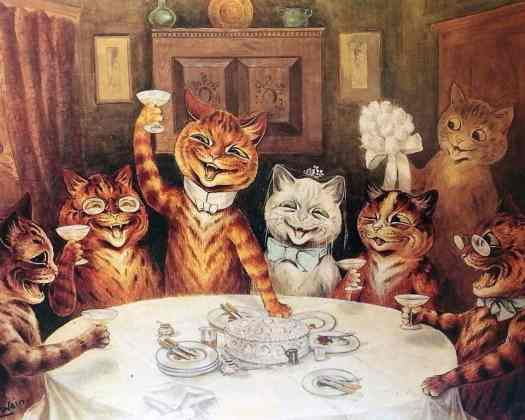 cat party by Louis Wain