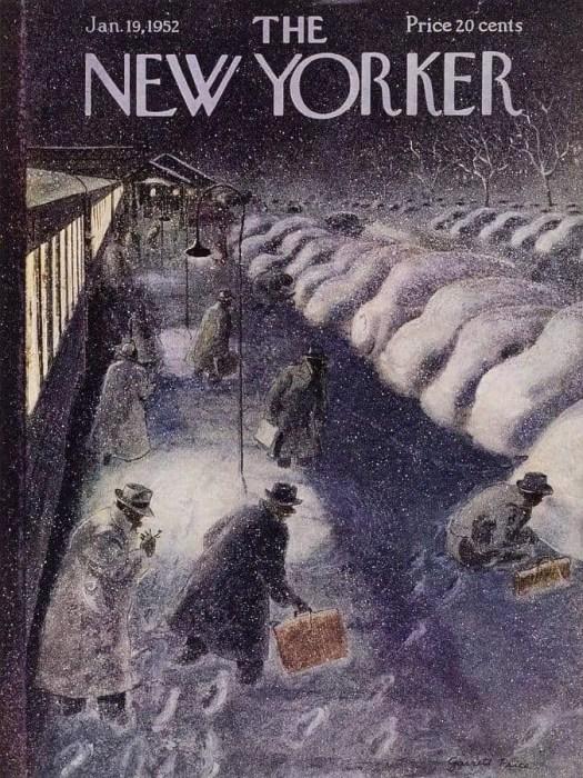 New Yorker cover train station by Garrett Price