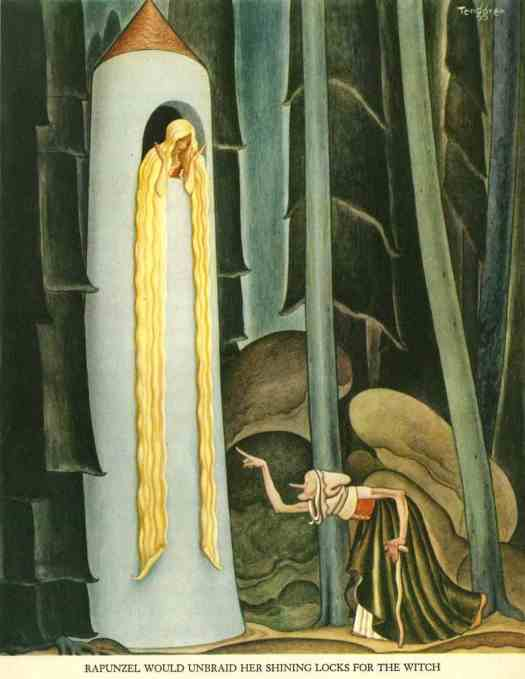 Rapunzel would unbraid her shining locks for the witch from the Tenngren Tell It Again Book, Gustaf Tenngren