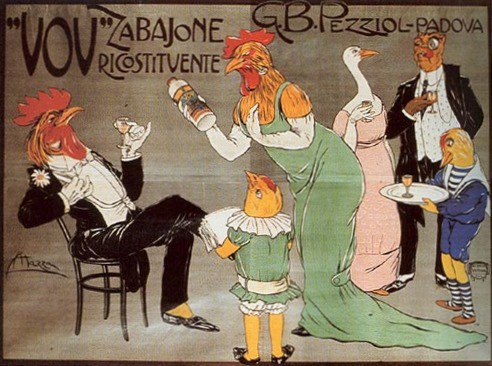 'Tonic Eggnog Liqueur' Poster by Aldo Mazza, 1910