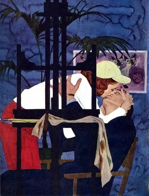 Vintage Al Parker ( b.1906) illustration 1950s