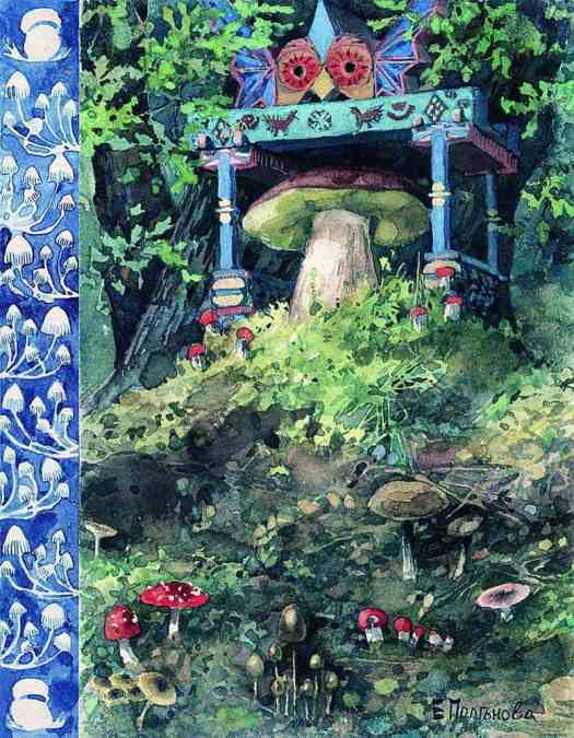 Yelena Polenova - Illustration for the fairy tale War of the Mushrooms (1889)