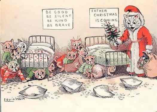 'Father Christmas is Here', circa 1880 by Louis Wain (1860-1930)