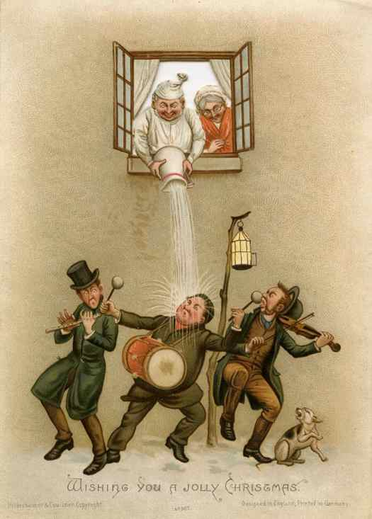 A Victorian Christmas card published by Hildesheimer & Faulkner prank Christmas carollers