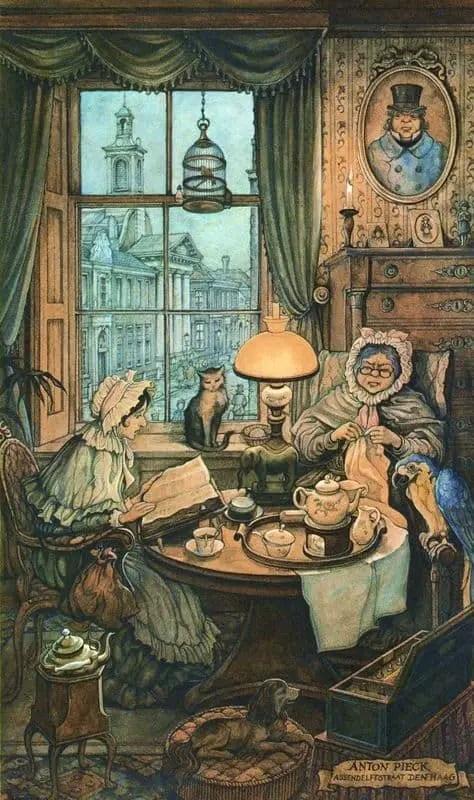 Anton Franciscus Pieck (19 April 1895 – 24 November 1987) night women inside sewing