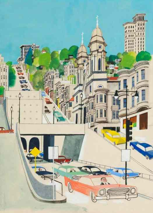 Miroslav Šašek (1916 -1980) 1962 illustration for 'This Is San Francisco', one of a series of country guides he produced for children, slope