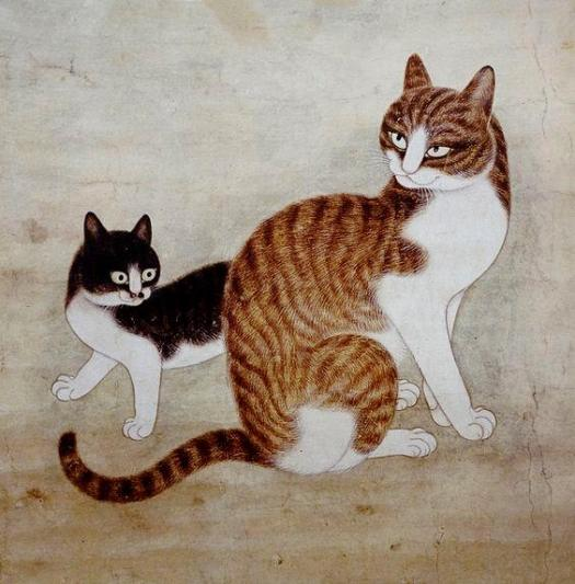 Mother Cat with Kitten, by Jeon Jojiun (전 조지운) - Joseon Period