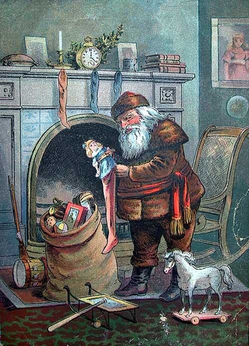 Santa Claus and his Works, by George Webster, published 1888 santa filling a stocking