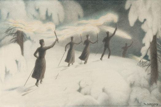 Skiing with Torches 1904 Theodor Kittelsen