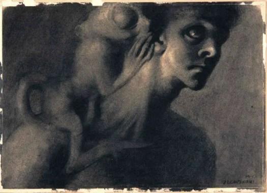 Stefan Żechowski (1912- 1984) Djinn on shoulder