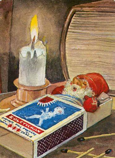 Trygve M. Davidsen (1895-1975) Tomte inside a matchbox. The image of white-bearded, red-dressed Santa comes from Scandinavian tomten.