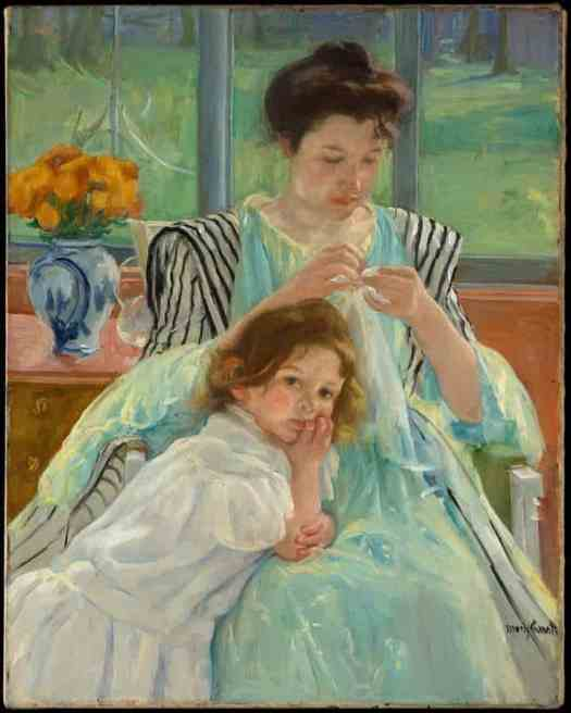 'Young Mother Sewing (1900)' painted by Mary Cassatt