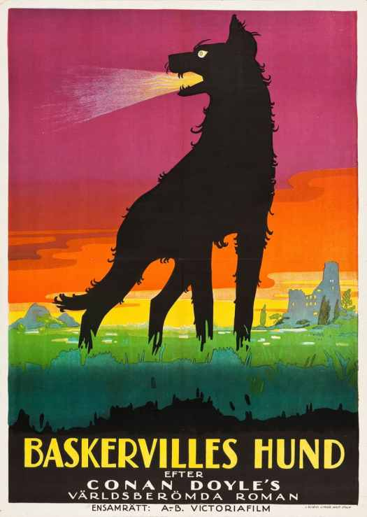 1929 Swedish poster for a film version of THE HOUND OF THE BASKERVILLES Richard Oswald, Germany, 1929, uncredited illustrator