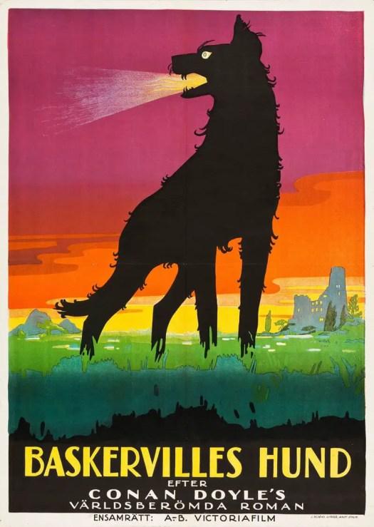 1929 Swedish poster for a film version of THE HOUND OF THE BASKERVILLES Richard Oswald, Germany, 1929, uncredited illustrator