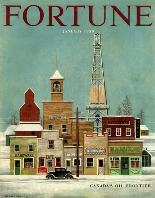 1950 January, cover by Witold Gordon Canada's Oil Frontier town