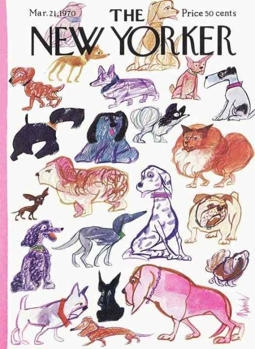 Artist Kenneth Mahood (1930-) The New Yorker cover dogs