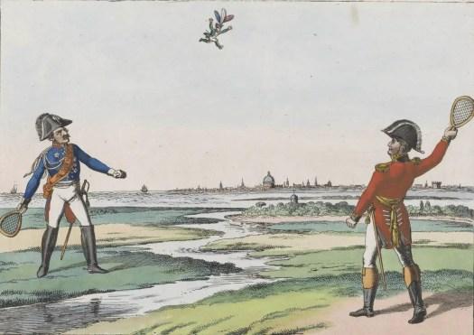 Blücher en Wellington spelen badminton met Napoleon, 1815, Johann Michael Voltz, 1815