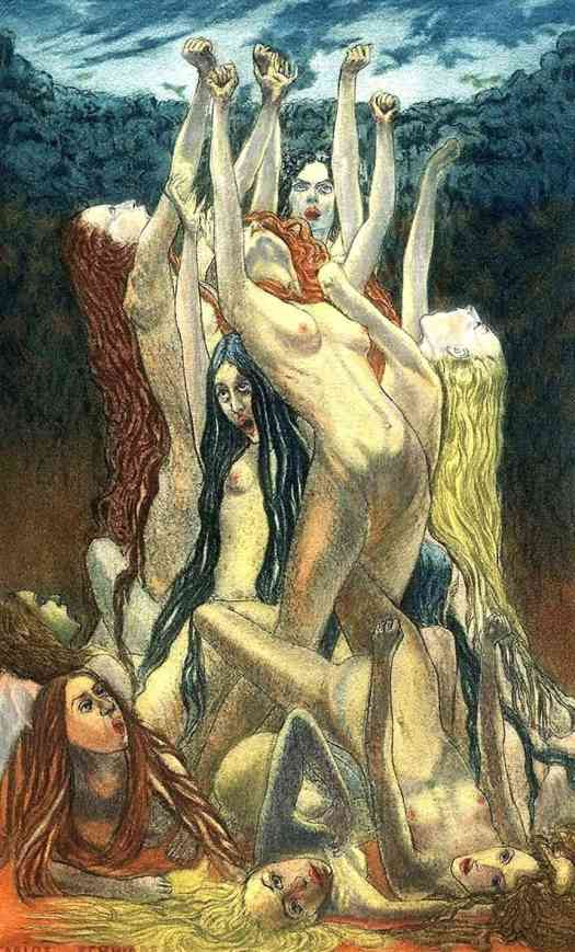 Carlos Schwabe Illustrations for Charles Baudelaire's 'Les Fleurs du Mal witch
