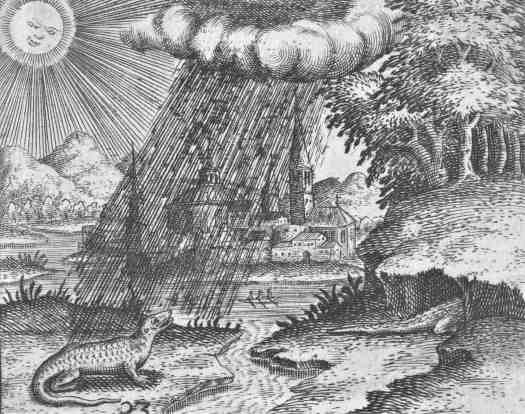 Crocodile In The Rain, Theodor de Bry, after Jean Jacques Boissard, 1596