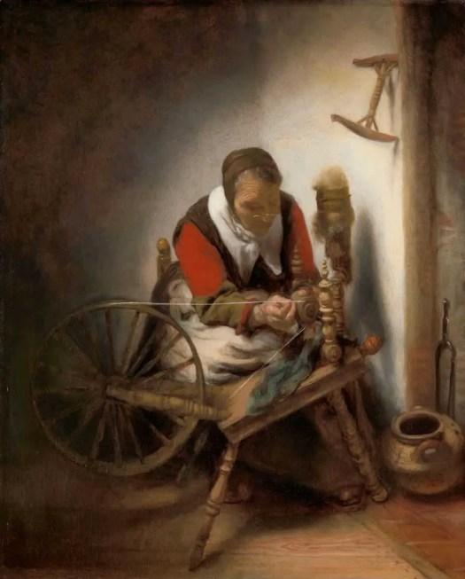 De spinster, Nicolaes Maes, 1652 - 1662