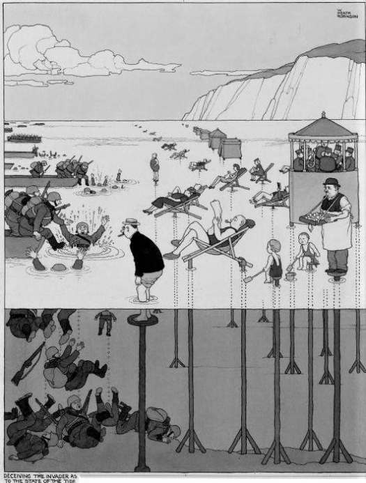 Deceiving the invader as to the state of the tide, William Heath Robinson (1872-1944) sea ocean